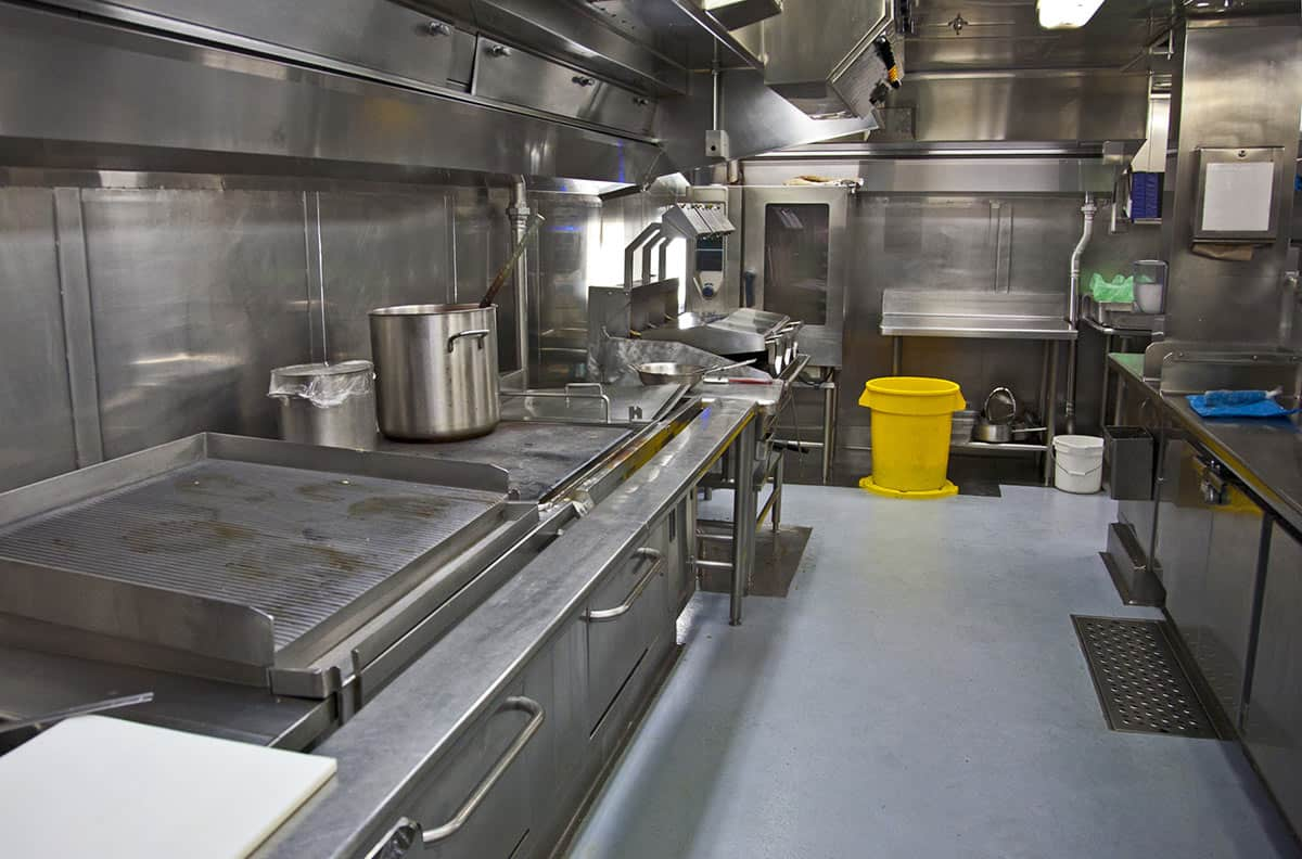Commercial kitchen flooring in a restaurant